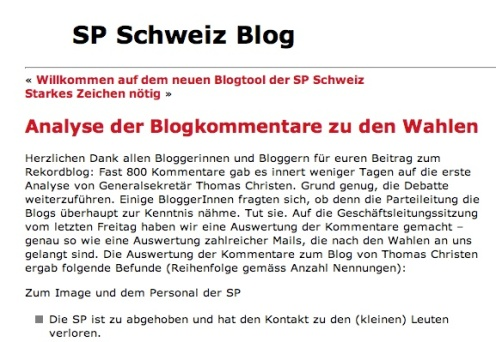 SP analysiert Blog-Kommentare